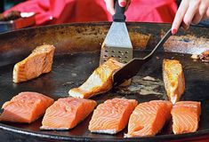 Pan-fried salmon fillets Royalty Free Stock Photo
