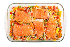 Salmon fillets with garnish Stock Image