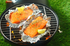 Salmon fillets grilling on an open fire. Delicious fresh salmon fillets grilling on an open fire in a portable barbecue lying on tin foil wrappers and flavored Royalty Free Stock Images