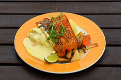 Salmon fillets with potatoes Royalty Free Stock Photos