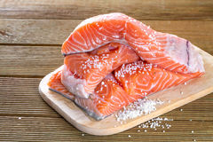 Salmon fillets with salt Royalty Free Stock Image