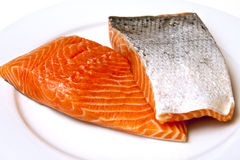 Salmon Fillets with Skin Stock Images