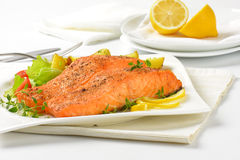 Salmon fillets with vegetables Royalty Free Stock Photography