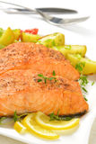 Salmon fillets with vegetables Royalty Free Stock Image