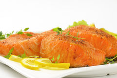 Salmon fillets with vegetables Royalty Free Stock Images