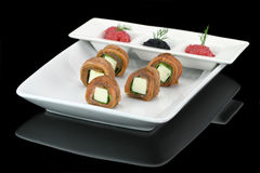Salmon finger food Stock Images