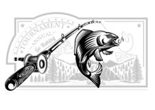 Salmon fish bend in engrving style with fishing rods on nature background. Logo for fishing, championship and sport club on white.  royalty free illustration