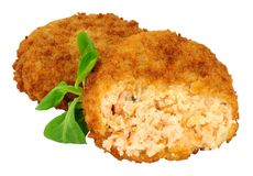 Salmon Fish Cakes. Breadcrumb covered salmon fish cakes isolated on a white background Stock Photos