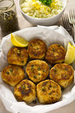 Salmon fish cakes with lemon Royalty Free Stock Images