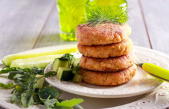 Salmon fish cakes on plate, Stock Photography