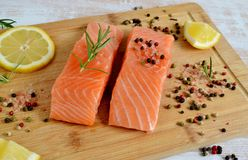 Salmon Fish Cooking Royaltyfri Foto