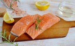 Salmon Fish Cooking Raw Fillet Imagen de archivo libre de regalías
