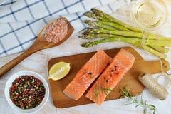 Salmon Fish Cooking Raw Fillet Fotografía de archivo libre de regalías