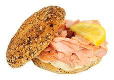Salmon And Cream Cheese Bagel Royalty Free Stock Photos