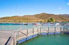 Salmon Fish farm, New Zealand Stock Photo