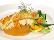 Salmon Fish Fillet en pâte feuilletée photo stock