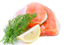 Salmon fish fillet isolated on a white background Royalty Free Stock Image