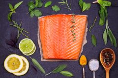 Salmon fish fillet, lemon, lime and herbs: basil, sage, mint, spinach, cilantro, thyme and rosemary like ingredients for cooking Royalty Free Stock Image