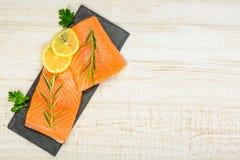 Salmon Fish Fillet met Exemplaarruimte Royalty-vrije Stock Afbeelding