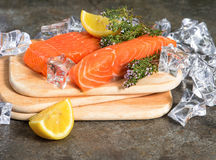 Salmon fish fillet, thyme herb, lemon and ice Stock Photo