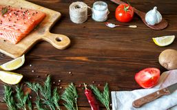 Fresh delicious salmon fillet with aromatic herbs, spices, garli. Salmon fish fillets cutting board fresh ingredients cooking rustic background. Top view, frame Royalty Free Stock Photos