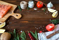 Fresh delicious salmon fillet with aromatic herbs, spices, garli. Salmon fish fillets cutting board fresh ingredients cooking rustic background. Top view, frame Stock Images