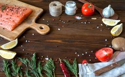Fresh delicious salmon fillet with aromatic herbs, spices, garli. Salmon fish fillets cutting board fresh ingredients cooking rustic background. Top view, frame Stock Photography