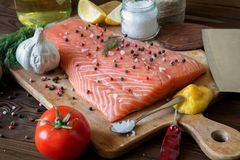 Fresh delicious salmon fillet with aromatic herbs, spices, garli. Salmon fish fillets cutting board fresh ingredients cooking rustic background. Top view Royalty Free Stock Photography