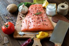 Fresh delicious salmon fillet with aromatic herbs, spices, garli. Salmon fish fillets cutting board fresh ingredients cooking rustic background. Top view Royalty Free Stock Photos