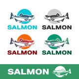 Salmon fish, fishing gear. Simple and strong logo for company Stock Images