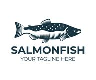 Salmon, fish and fishing, logo template. Underwater world, river and marine life, nature, vector design. Illustration Stock Photography