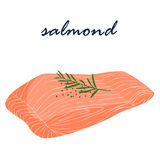 Salmon fish food help fat burning  illustration Stock Photography