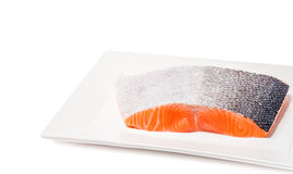 Salmon fish fresh meat slice on white background Royalty Free Stock Photography