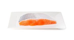 Salmon fish fresh meat slice on white background Royalty Free Stock Photo