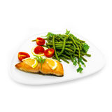 Salmon fish with green beans Royalty Free Stock Photos