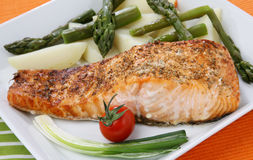 Salmon fish grill Royalty Free Stock Photos