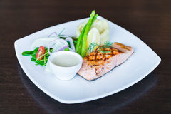 Salmon fish grilled steak Royalty Free Stock Photo
