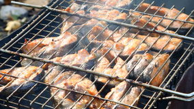 Salmon fish on grilling sticks stock video footage