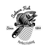 Salmon fish head up from landing net in engraving style. Logo for fishing or fishing shop isolated. On white royalty free illustration