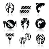 Salmon fish and meal - food icons set royalty free illustration