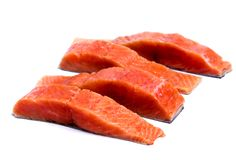 Salmon fish meat isolated on white. Background stock photography