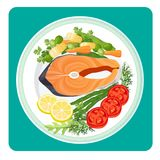 Salmon fish meat slice and vegetables vector illustration. Salmon fish meat slice served with vegetables. Tomatoes and lemon, green pea and dill herbs. Sea food Royalty Free Stock Images