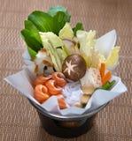 Salmon Fish Miso Hotpot Photo stock