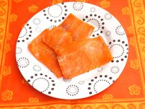 Salmon Fish in oil Stock Photos
