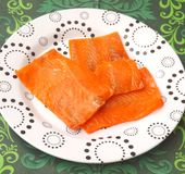 Salmon Fish in oil. Some salmon fish salted in oil Stock Images