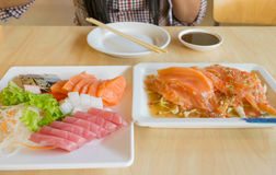 Salmon fish and other fish raw on table Stock Photography