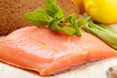Salmon fish and other food Royalty Free Stock Image