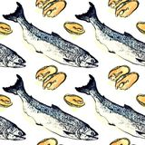 Salmon fish and pieces illustration. Salmon seamless pattern design, on white background, hand painted watercolor and ink illustration Stock Images