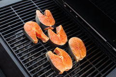 Salmon fish roast on barbecue grill. Stock Images