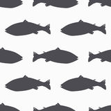 Salmon fish silhouette seamless pattern. Seafood meat. Background for craft food packaging Royalty Free Stock Image